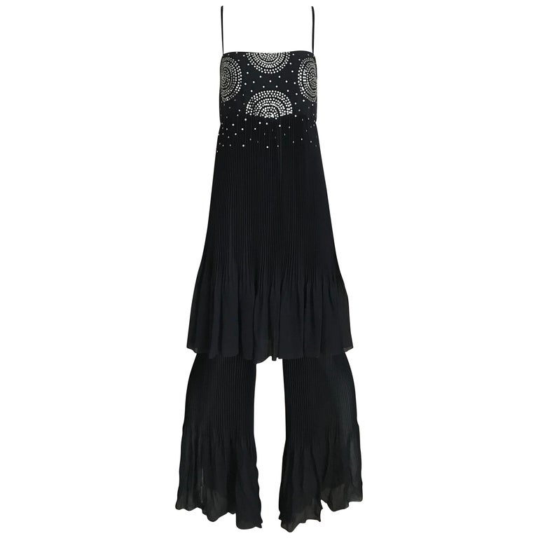 Chanel Blue Silk Spaghetti Straps Jumpsuit For Sale