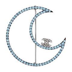 Chanel Blue & Silver Crystal Moon CC Brooch