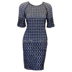 Chanel Blue & Silver Metallic Threads Abstract Knit Dress