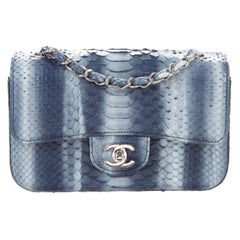 Chanel Blue Snakeskin Exotic Silver Small Evening Shoulder Flap Bag in Box
