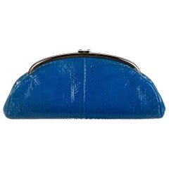Chanel Blue Snakeskin Exotic Skin Leather Silver Evening Clutch Flap Bag