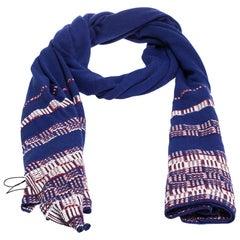 Chanel Blue Striped Knit Silk Blend Stole