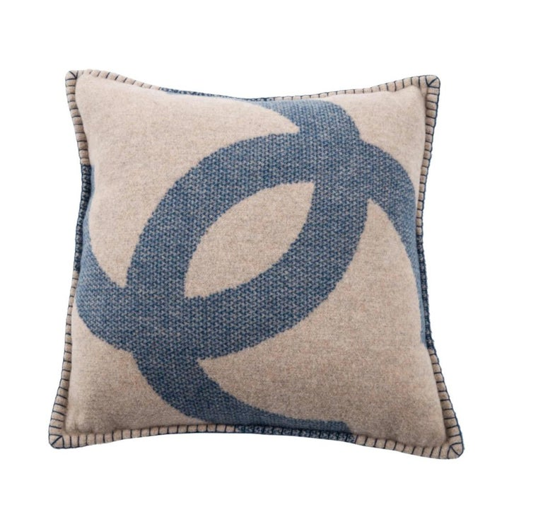 Gray Chanel Blue Tan Beige Nude Cashmere Wool Blend Bed Couch Chair Throw Pillow For Sale