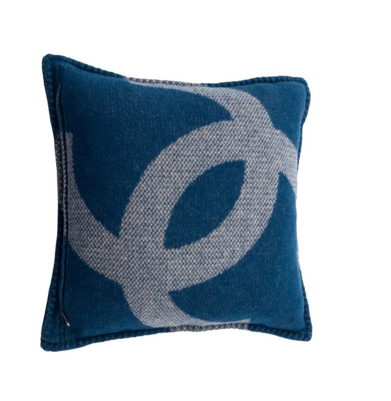Chanel Blue Tan Beige Nude Cashmere Wool Blend Bed Couch Chair Throw Pillow In Excellent Condition For Sale In Chicago, IL