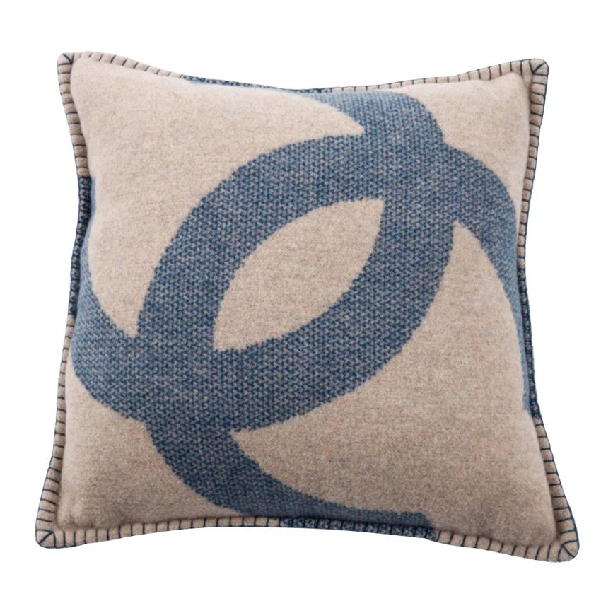 Chanel Blue Tan Beige Nude Cashmere Wool Blend Bed Couch Chair Throw Pillow