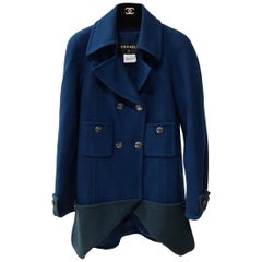 Chanel Blue/Teal 2013 Runway Two Tone Wool Jacket Coat