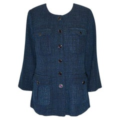 Chanel Blue Tweed Jacket With Four Front Flap Pockets