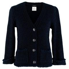 Chanel Blue Tweed Ruffled Button Down Cardigan FR34