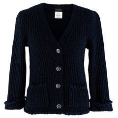 Chanel Blue Tweed Ruffled Button Down Cardigan - Size US 0-2