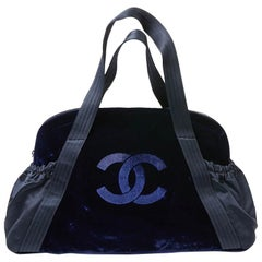 CHANEL Blue Velvet And Satin Handbag