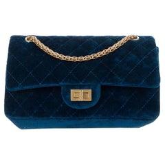 Chanel Blue Velvet Chevron Gold Medium Evening Flap Shoulder Bag