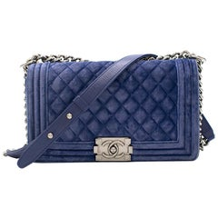 Chanel Blue Velvet Small Boy Bag