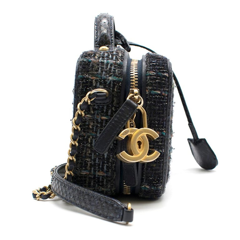 Chanel 2018 Blue Python CC Filigree Vanity Case Bag  multi colored tweed; leather interior; zipper pocket; central zipper compartment; matte gold chain link leather threaded shoulder straps; Made in France  approx  base length 20 cm width 8