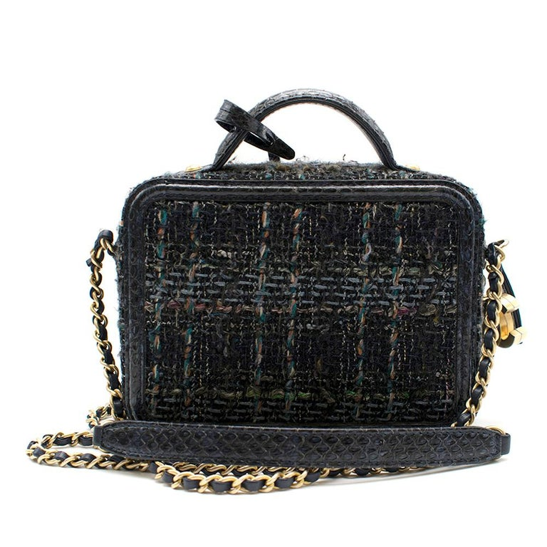 Black Chanel Blue Watersnake & Tweed CC Filigree Vanity Case Bag