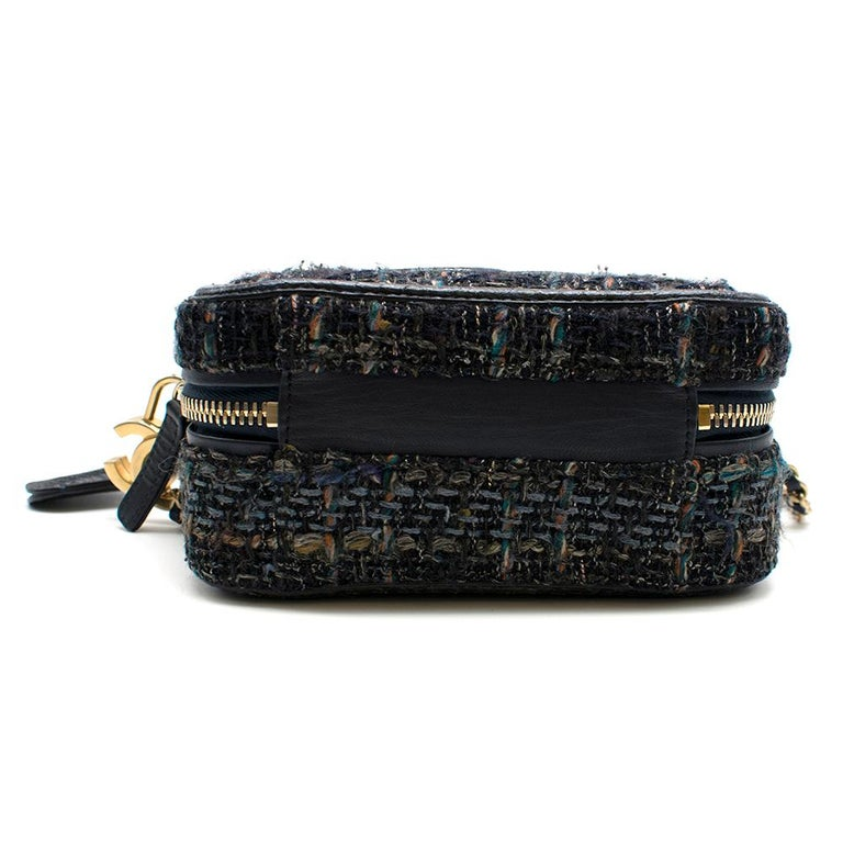 Women's Chanel Blue Watersnake & Tweed CC Filigree Vanity Case Bag