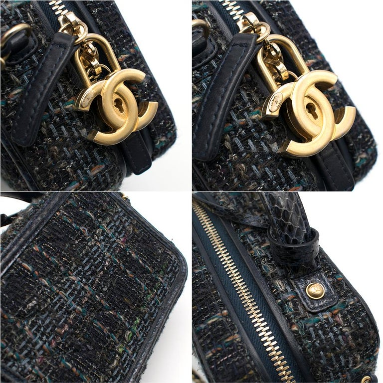 Chanel Blue Watersnake & Tweed CC Filigree Vanity Case Bag	 3