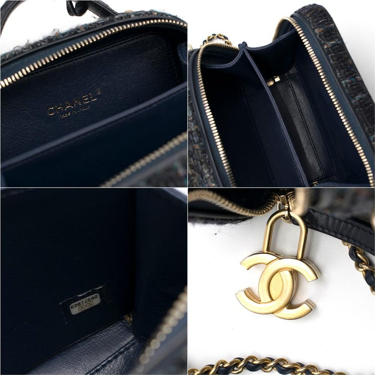 Chanel Blue Watersnake & Tweed CC Filigree Vanity Case Bag	 4