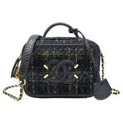 Chanel Blue Watersnake & Tweed CC Filigree Vanity Case Bag