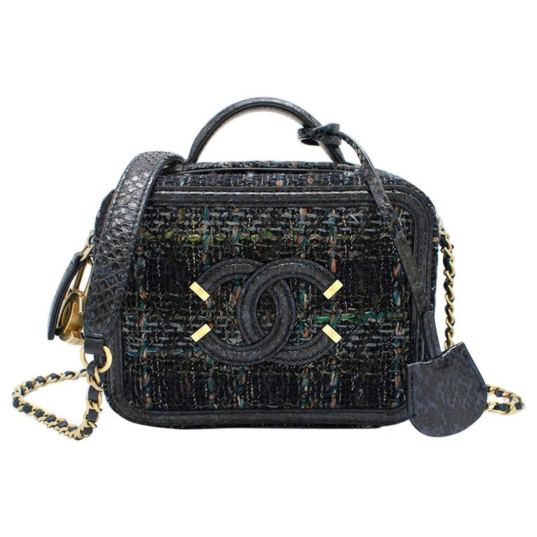 Chanel Blue Watersnake & Tweed CC Filigree Vanity Case Bag