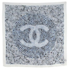 Chanel Blue & White Silk Logo Square Scarf