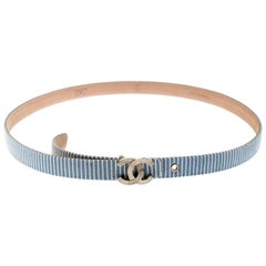 Chanel Blue/White Stripe Fabric CC Buckle Waist Belt 75CM