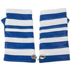 Chanel Blue/White Striped Leather Fingerless Gloves