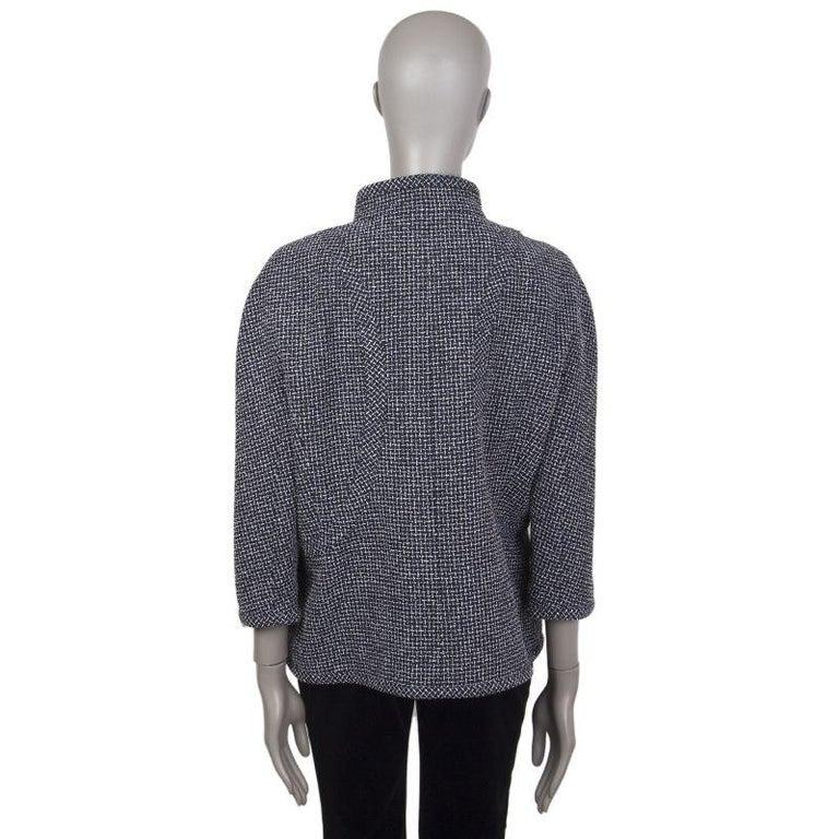 Black CHANEL blue white wool Tweed 3/4 Sleeve Blazer Jacket 48 XXXL For Sale