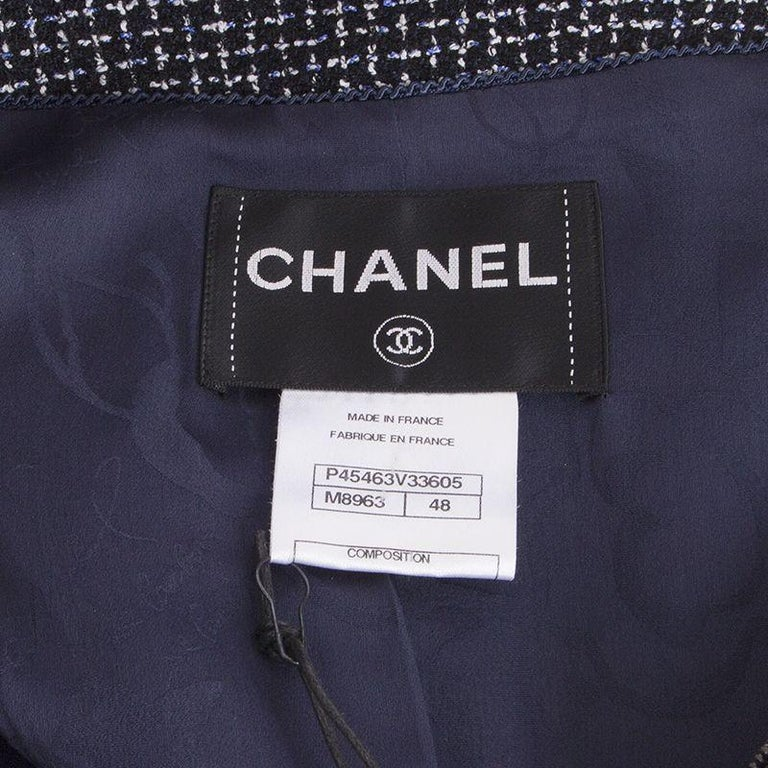 Women's CHANEL blue white wool Tweed 3/4 Sleeve Blazer Jacket 48 XXXL For Sale