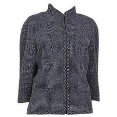 CHANEL blue white wool Tweed 3/4 Sleeve Blazer Jacket 48 XXXL