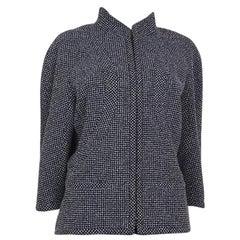 CHANEL blue white wool Tweed 3/4 Sleeve Blazer Jacket 48 XXXL