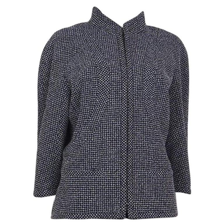 CHANEL blue white wool Tweed 3/4 Sleeve Blazer Jacket 48 XXXL For Sale