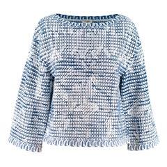 Chanel Blue & White Woven Oversize Boxy Top XS 36