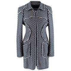 Chanel Blue & White Woven Tweed Classic Coat - Size US6
