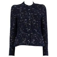CHANEL blue wool blend LUREX TWEED Blazer Jacket 36 XS