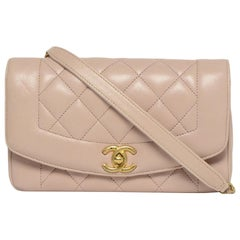 Chanel Blush Lambskin Leather Quilted Diana Flap Bag rt $4,700