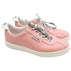 Chanel Blush Pink Canvas Trainers with Logo Laces 36.5