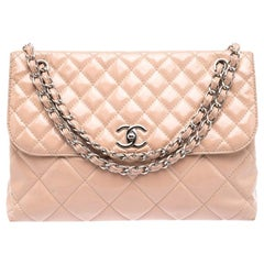 Chanel Blush Pink Quilted Patent Leather In-The-Business Flap Bag