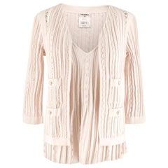 Chanel Blush Pleated Knit Twinset 38