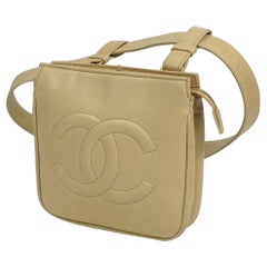 CHANEL body bag Waist pouch COCO mark Womens Waist bag beige x silver hardware