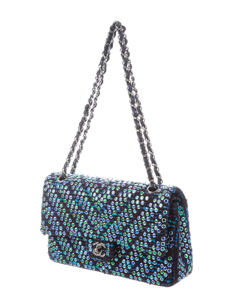 Chanel Boucle Blue Green Resin Silver Evening Shoulder Bag in Box   Bouclé  Resin  Leather  Silver tone and ruthenium hardware Leather lining Turn-lock closure Date code present Made in France  Shoulder strap drop 19