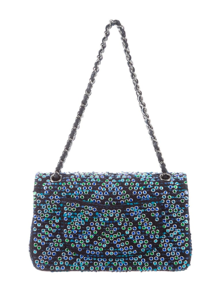 Black Chanel Boucle Blue Green Resin Silver Evening Shoulder Bag in Box  For Sale