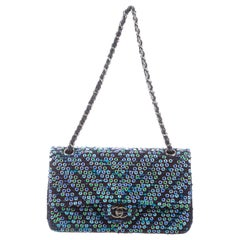 Chanel Boucle Blue Green Resin Silver Evening Shoulder Bag in Box
