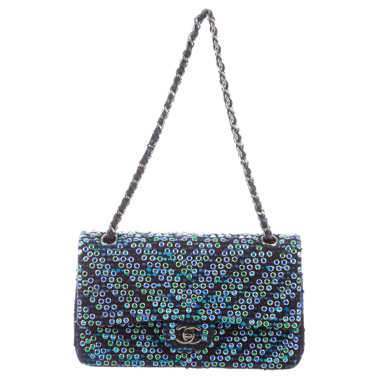 Chanel Boucle Blue Green Resin Silver Evening Shoulder Bag in Box  For Sale