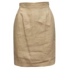 Chanel Boutique Beige Linen Skirt