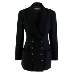 Chanel Boutique Black Longline Double Breasted Blazer XS