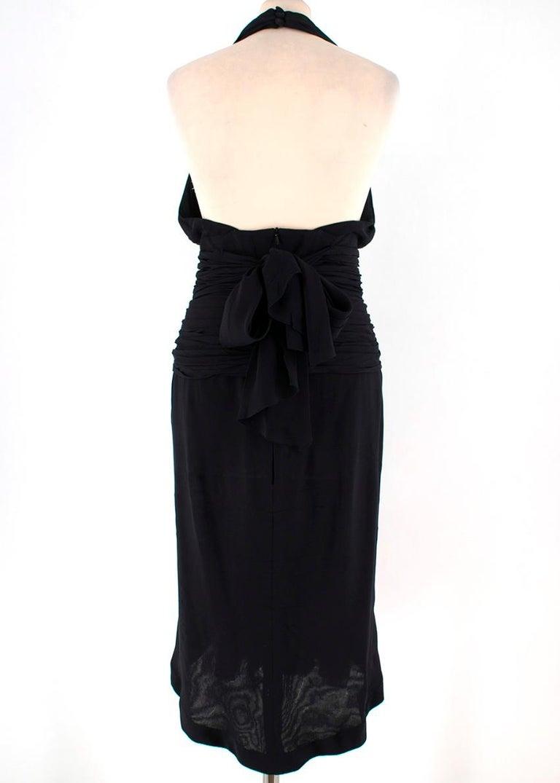Chanel Boutique Black Silk Pleated Halterneck Dress - Size US 6 1