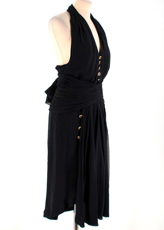 Chanel Boutique Black Silk Pleated Halterneck Dress - Size US 6 2