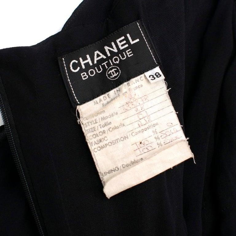 Chanel Boutique Black Silk Pleated Halterneck Dress - Size US 6 3