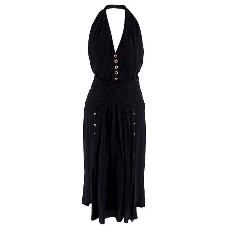 Chanel Boutique Black Silk Pleated Halterneck Dress - Size US 6