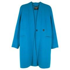 Chanel Boutique Blue Wool Midi Coat - Size M